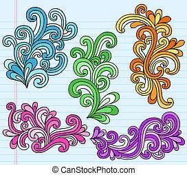 swirly, doodles, 矢量, 迷幻藥