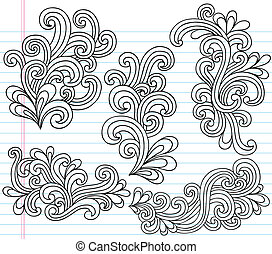 swirly, doodles, 矢量, 集合