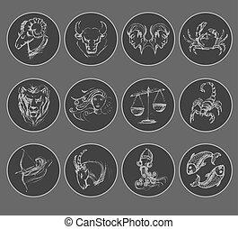 symbols., 星象, 集合, 占星術, 簽署, 黃道帶