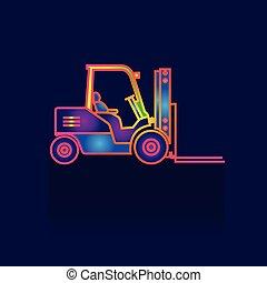 symbols., 鏟車, 插圖, 背景。, 矢量, 卡車, icon., logo., 白色