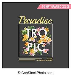 t恤衫, 列印, 圖表, 時裝, -, 熱帶, 矢量, 設計, 花