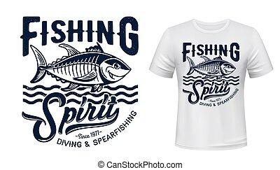 t恤衫, 印刷品, mockup, 矢量, tuna魚吊錨器, 吉祥人