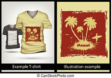 t-shirt., 例子, 插圖