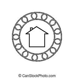 technology., concept., blockchain, 未來, 家, 圖象
