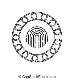 technology., concept., blockchain, 未來, 指紋, 圖象