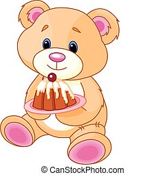 teddy, 蛋糕, 熊