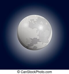 telescope., 套間, 滿月, luna, 矢量, 看見, icon.