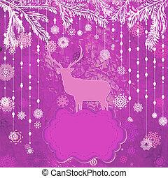 tempate, card., 鹿, eps, 8, 聖誕節