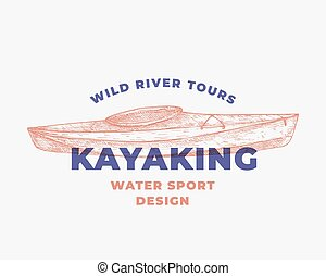 template., 簽署, 水, 小船, 現代, concept., 手, 畫, kayak, 摘要, typography., 象征, 運動, 獨木舟, kayaking, 符號, 或者, 略述, 標識語, 矢量