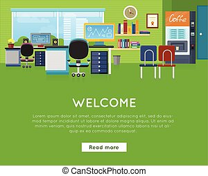 template., 辦公室, concept., 網站, 歡迎