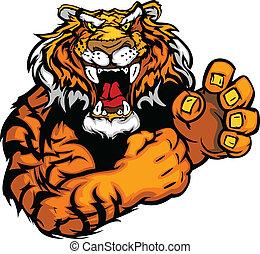 tiger, 圖像, 矢量, 吉祥人