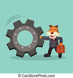 tiger, 推, 齒輪, 事務