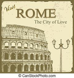 touristic, -, 羅馬, 海報, 葡萄酒