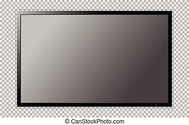 tv 屏幕, 現代, 被隔离, 背景, 空白, 透明