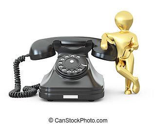 us., 人, 電話。, 3d, 接触