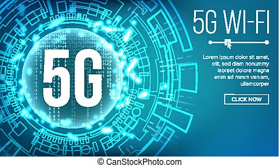 vector., 5g, 標准, 無線, 背景, 未來, 網際網路, wi-fi, connection., 描述技術, network., telecommunication.