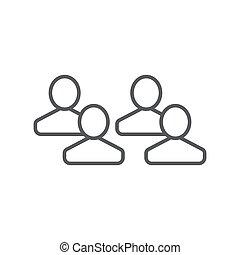 vectoricon, 人們, 組, 符號, 四, 被隔离, 白色 背景