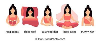 water., tips., infographics, 海報, 睡覺, 健康, 適當地, 插圖, 閱讀, 健康, 平靜, 保持, 運動, 書, 生活方式, 婦女, 小冊子, 吃, 婦女, 年輕