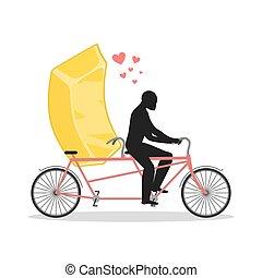 wealth., 黃金, 情人, 浪漫, 食物, cycling., gold., 快, bicycle., 聯接, 金銀, tandem., 情人, 日期, 步行, 勞易斯勞萊斯, 人