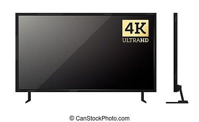 white., 屏幕, 被隔离, 電視, 4k