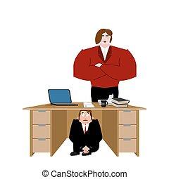 wife., 商人, 事務, 惊嚇, 工作, 插圖, 矢量, 在下面, board., 桌子, 受驚, 人