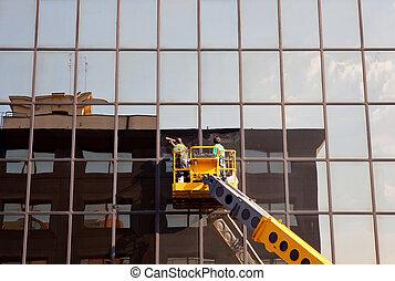 windows, 人, 清掃