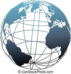 wireframe, 世界全球, 大西洋, 緯度, 地球
