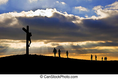 witth, 步行, 好, 黑色半面畫像, christ, 人們, 星期五, 向上, 產生雜種, 朝向, 小山, 在十字架上釘死, 耶穌, 復活節