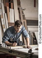 woodworker, 年輕, 工作, 木工工作