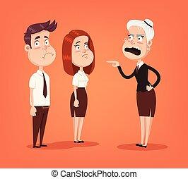 workers., 婦女, 辦公室, 套間, 憤怒, 尖聲喊叫, 字, 插圖, 老板, 矢量, 雇員, 卡通