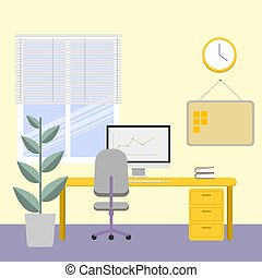 workplace., 明亮, 屠夫, entries., 電腦, 時間, 內部, 窗口。, 辦公室, 工作, work., flower.