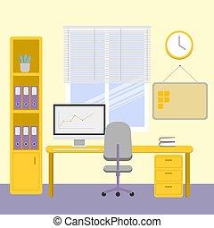 workplace., 明亮, 屠夫, entries., 電腦, 時間, 內部, 窗口。, 辦公室, work., 工作, cabinet.