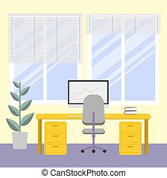 workplace., 明亮, 電腦, 時間, 內部, 窗口。, cabnet, 辦公室, 工作, work., flower.