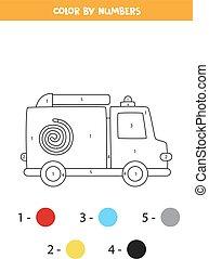 worksheet., 顏色, 卡車, 卡通, 火, 運輸, numbers.