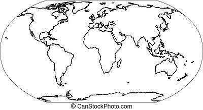 world., 套間, outline, 地圖, 插圖, 簡單, 矢量